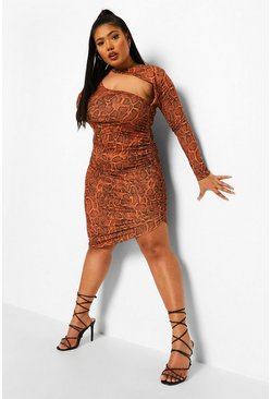 Brown Plus Snake Cut Out Slinky Midi Dress