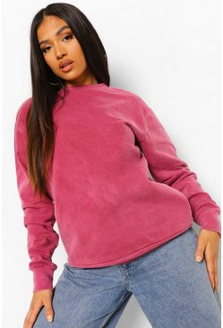Bright pink pink Petite Oversized Acid Wash Sweatshirt
