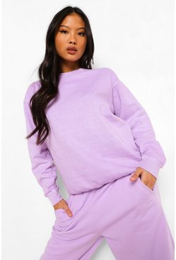 Lilac purple Petite Oversized Acid Wash Sweatshirt