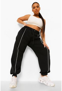 Black Plus Stripe Front Jogger