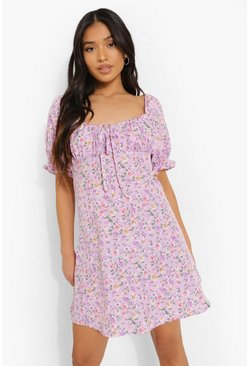 Lilac Petite Ditsy Floral Puff Sleeve Mini Dress