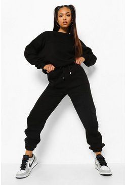 Black Petite Oversized Utility Pocket Tracksuit