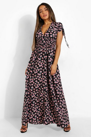 Black Petite Ditsy Floral Plunge Tea Dress