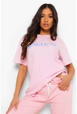 Pale pink pink Petite 'Single Af' Slogan T-shirt