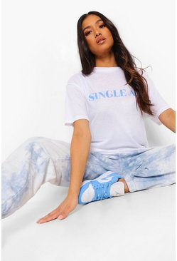 "Camiseta con eslogan ""Single Af"" Petite, Blanco"