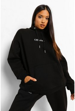 Black Petite Official Oversized Embroidered Hoodie