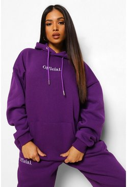 Purple Petite Official Oversized Embroidered Hoodie