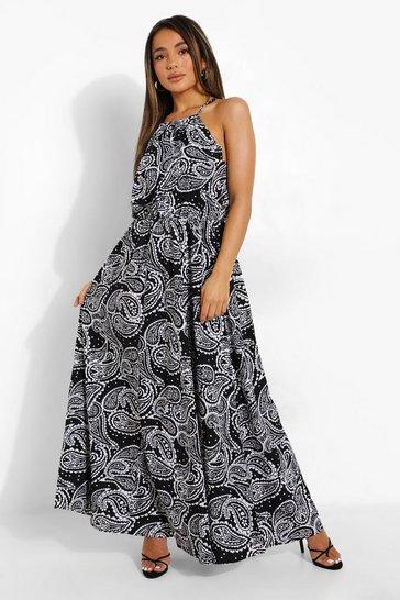 Black Petite Paisley Print Halter Maxi Dress