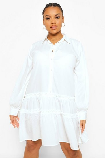 White Plus Frill Long Sleeve Shirt Dress