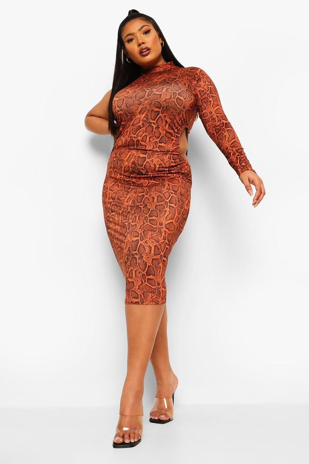 Plus Snake Cut Out Waist Slinky Midi Dress 18