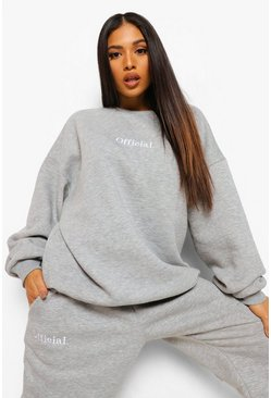 סלע אפור Grey Petite Official Oversized Embroidered Sweat