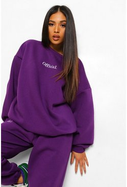 Purple Petite Official Oversized Embroidered Sweat