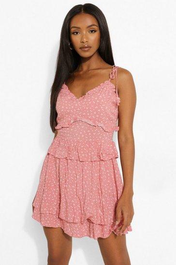 Pink Petite Floral Print Tie Strap Mini Dress