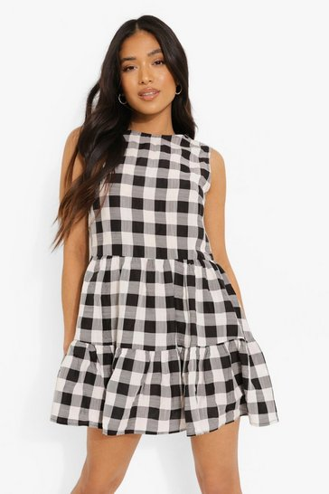 Black Petite Check Smock Dress