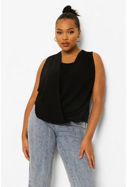 Black Plus Wrap Front Sleeveless Blouse