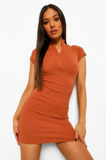 Caramel beige Petite High Neck Zip Detail Mini Dress