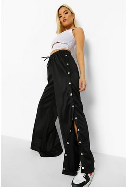 Black Petite Wide Leg Popper Detail Jogger