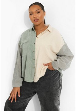 Sage green Plus Oversized Colour Block Cord Shirt