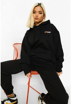 Black Petite Official Flame Print Oversized Hoodie
