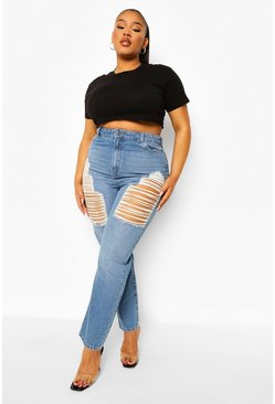 Mid blue blue Plus Distressed Thigh High Waist Skinny Jean