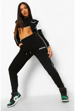Black Petite Woman Embroidered Zip Up Tracksuit