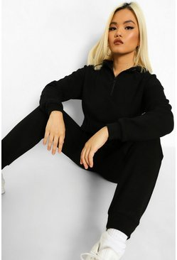 Black Petite Toggle Raw Hem Hooded Tracksuit