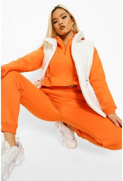Orange Petite Toggle Raw Hem Hooded Tracksuit