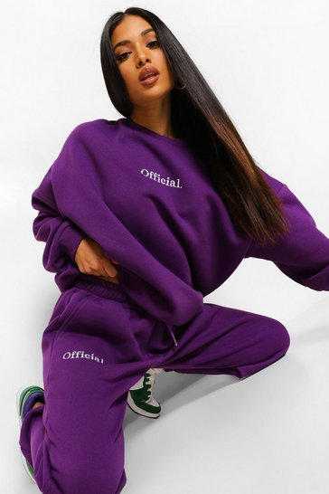 Purple Petite Official Embroidered Joggers