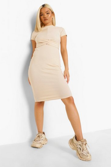 Stone beige Petite Round Neck Cross Detail Midi Dress