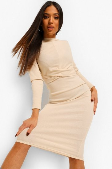 Stone beige Petite Rib Cross Detail Midi Dress