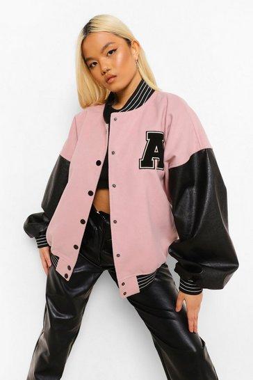 Pink Petite Pu Sleeve Oversized Varsity Jacket
