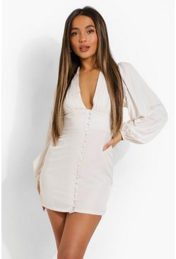 White Petite Balloon Sleeve Plunge Mini Dress