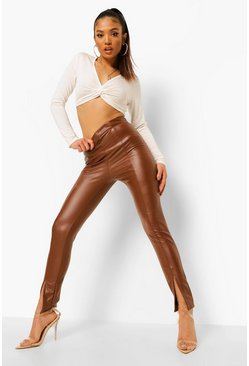 Chocolate brown Petite Pu Split Hem Legging