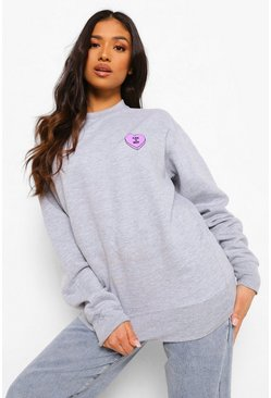 Grey marl Petite Can U Not Pocket Print Sweat