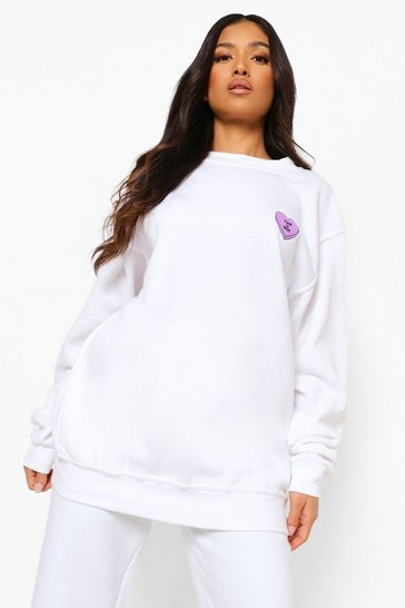 White Petite Can U Not Pocket Print Sweatshirt