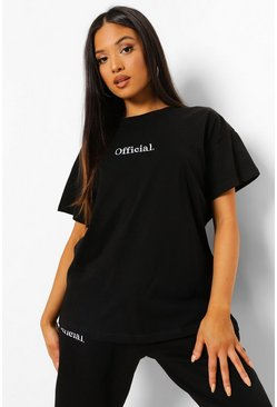 Black Petite Official Oversized Embroidered T-shirt
