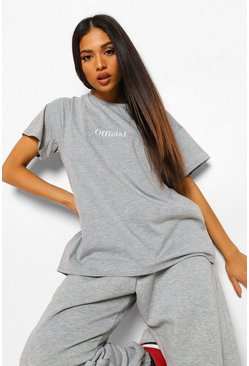 Petite - T-shirt oversize Official, Grey marl gris