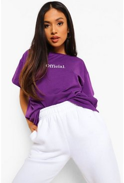 Purple Petite Official Oversized Embroidered T-shirt