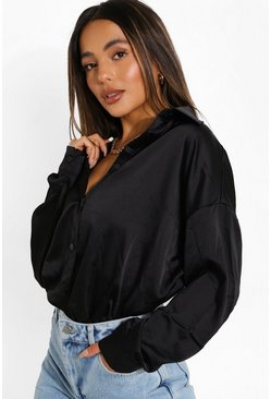 Black Petite Satin Oversized Shirt