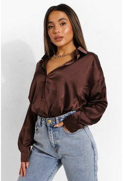 Chocolate brown Petite Satin Oversized Shirt