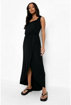 Black Petite Wrap Front Maxi Dress