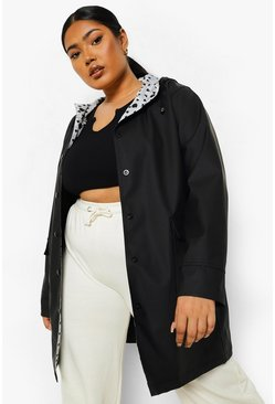 Black Plus Heart Print Lined Rain Mac