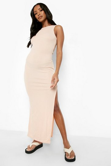 Nude Petite High Neck Side Split Rib Maxi Dress