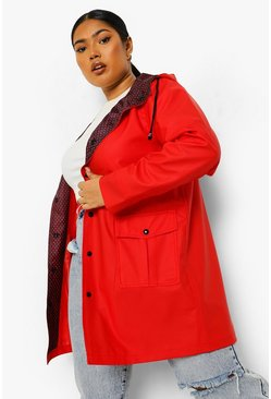Red Plus Spot Print Lined Rain Mac