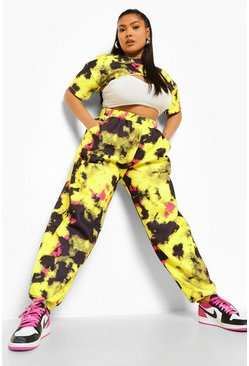 Yellow Plus Tie Dye Cut Out Crop Top And Jogger Set