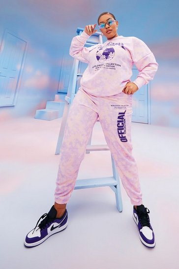 Lilac purple Plus Official Tie Dye Tracksuit