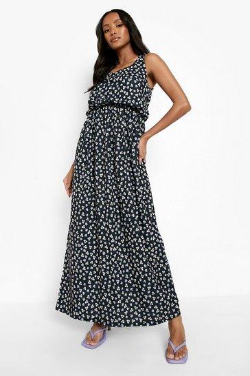 Black Petite Ditsy Print Maxi Dress