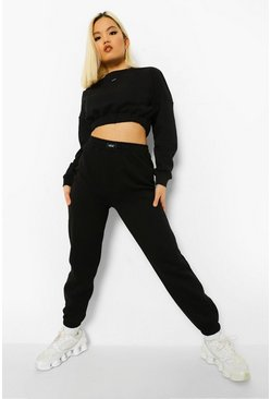 Black Petite Offcl Slogan Sweat Tracksuit