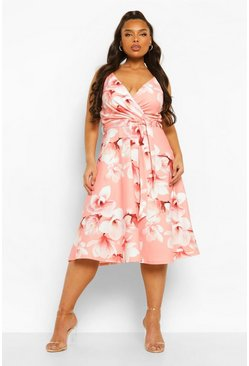 Coral pink Plus Occasion Floral Wrap Skater Dress