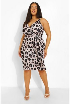Plus Occasion Leopard Wrap Midi Dress
